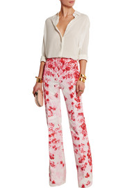 Giambattista Valli Floral-print silk-faille flared pants