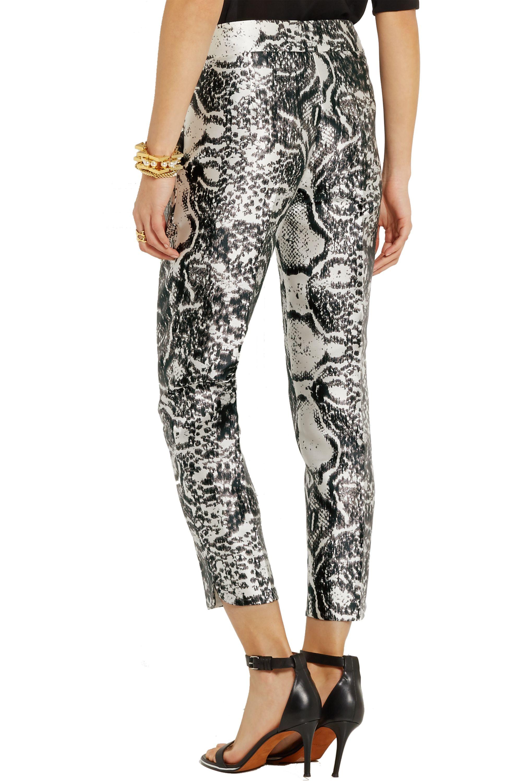 Giambattista Valli Printed satin skinny pants