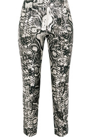 Printed satin skinny pants