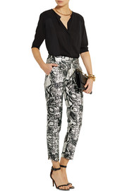 Giambattista Valli Printed satin skinny pants