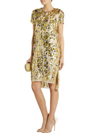 Reed Krakoff Embellished woven-cotton dress