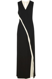 Two-tone wrap-effect silk gown