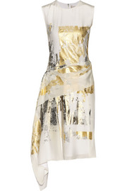Asymmetric foil-print silk dress