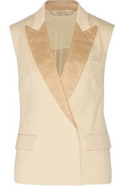 Leather-trimmed cotton-blend piqué vest