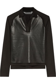 Leather-paneled cashmere, merino wool and silk-blend top