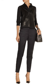 Reed Krakoff Leather-paneled cashmere, merino wool and silk-blend top