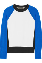 Paneled crepe and cashmere, wool and silk-blend sweater
