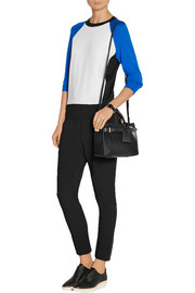 Reed Krakoff Paneled crepe and cashmere, wool and silk-blend sweater