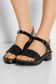 Caset glitter-finished leather sandals