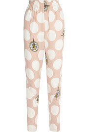 Polka-dot crepe tapered pants