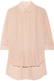 Pleated silk crepe de chine top