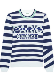 KENZO Embroidered striped cotton-jersey sweatshirt