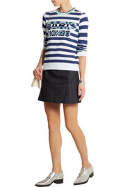 Embroidered striped cotton-jersey sweatshirt