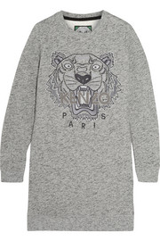 Tiger-embroidered cotton sweatshirt mini dress