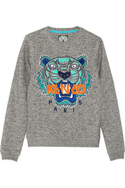 Tiger embroidered cotton-jersey sweatshirt