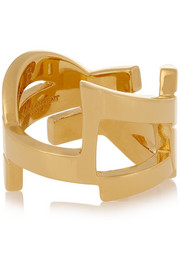 Saint Laurent Monogramme gold-plated ring