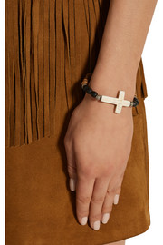 Saint Laurent Patti wood, cotton and howlite bracelet