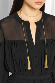 Saint Laurent Woven Lurex tassel necklace