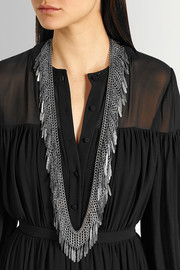 Saint Laurent Fringed silver-plated necklace