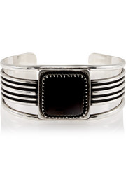 Saint Laurent Royal silver onyx cuff