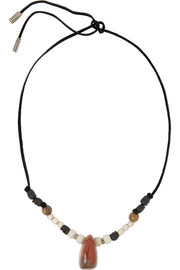 Saint Laurent Patti beaded suede necklace
