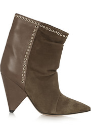 Lance embellished suede and leather ankle boots