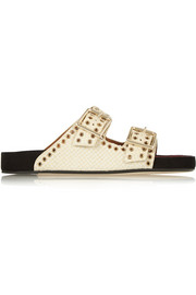 Lenny snake-effect leather slides