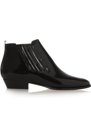 Presley glossed-leather ankle boots