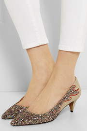 Isabel Marant Étoile Gumy glitter-finished leather pumps