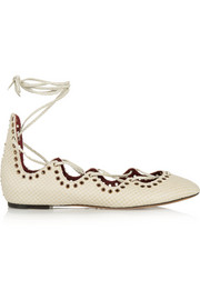 Leo snake-effect leather ballet flats