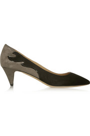 Isabel Marant Étoile Gumy suede and glitter-finished leather pumps