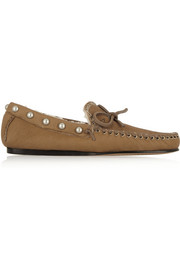 Etty studded shearling-lined leather moccasins