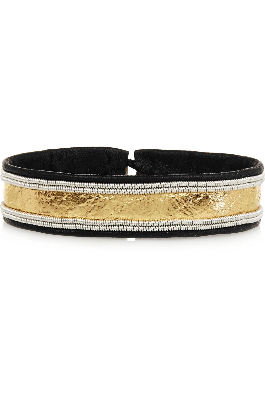 Maria Rudman Embroidered metallic leather bracelet