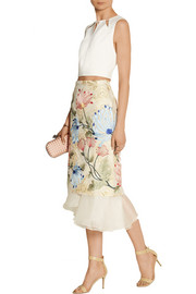 Mirea embroidered brocade and silk-organza midi skirt