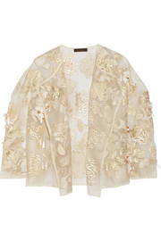 Kiku embellished brocade and silk-organza jacket