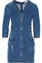 Distressed stretch-denim mini dress