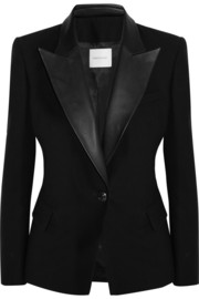 Leather-trimmed wool-gabardine blazer
