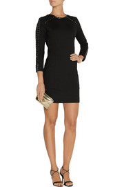 Pierre Balmain Leather-trimmed stretch-cady mini dress