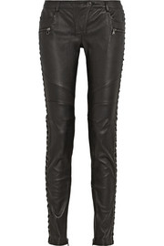 Paneled leather skinny pants