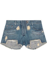 Distressed low-rise denim shorts