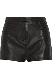 High-rise leather shorts