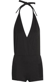Wrap-effect stretch-jersey halterneck playsuit