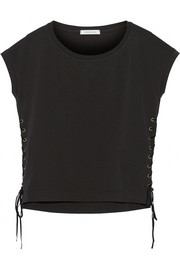 Pierre Balmain Lace-up cotton-jersey T-Shirt