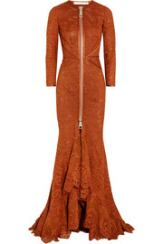 Gown in burnt-orange floral-lace