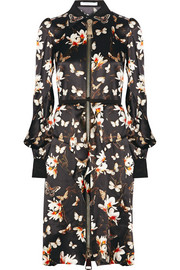 Dress in magnolia and butterfly-print silk-crepe