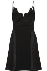 Dress in black silk-satin, lace and crepe
