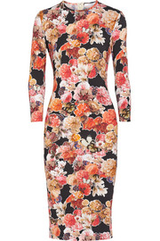 Pencil dress in floral-print stretch-jersey