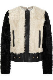 Two-tone shearling and leather biker jacket