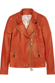 Biker jacket with ribbed panels in brick leather