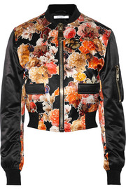 Givenchy Cropped bomber jacket in floral-print satin